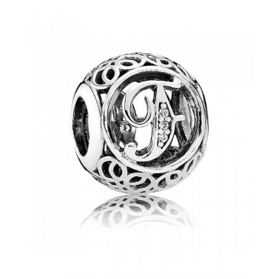 Pandora Charm-Silver Cubic Zirconia Vintage F Swirl Jewelry