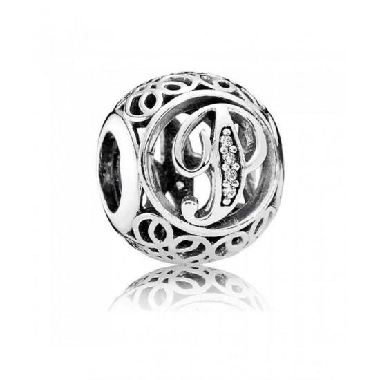 Pandora Charm-Silver Cubic Zirconia Vintage P Swirl Jewelry