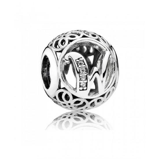 Pandora Charm-Silver Cubic Zirconia Vintage W Swirl Jewelry