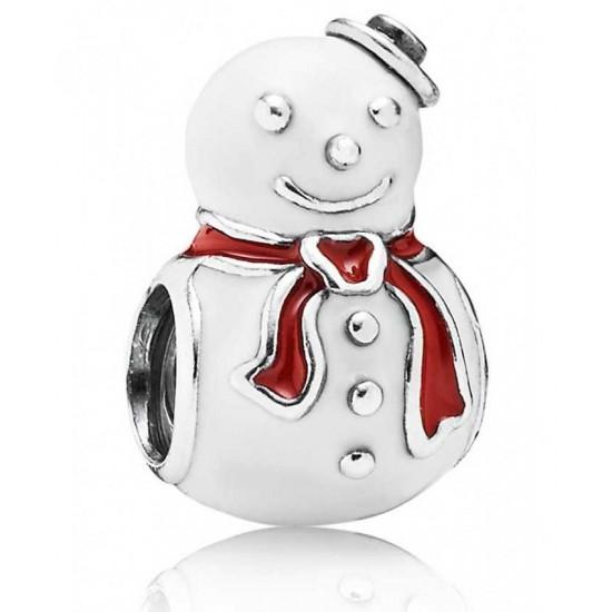 Pandora Charm-Silver Enamel Snowman Jewelry
