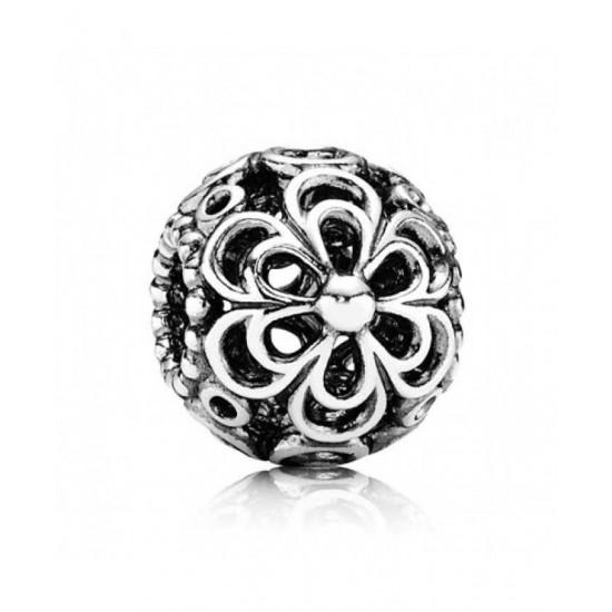 Pandora Charm-Silver Floral Criss Cross Bead Jewelry