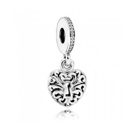 Pandora Charm-Silver Intricate Heart Lock Pendant Jewelry