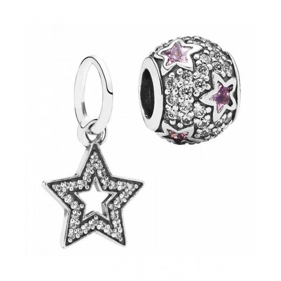 Pandora Charm-Silver Sparkle Stars Jewelry Sale Cheap