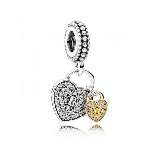 Pandora Charm-Silver 14ct Gold Cubic Zirconia Love Locks Pendant Jewelry