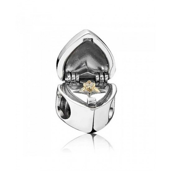Pandora Charm-Silver And 14ct Gold Heart Box With Ring Jewelry