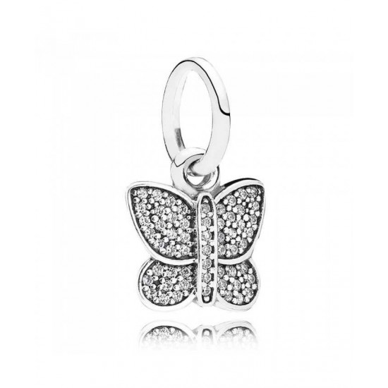 Pandora Charm-Silver Cubic Zirconia Butterfly Pendant Jewelry