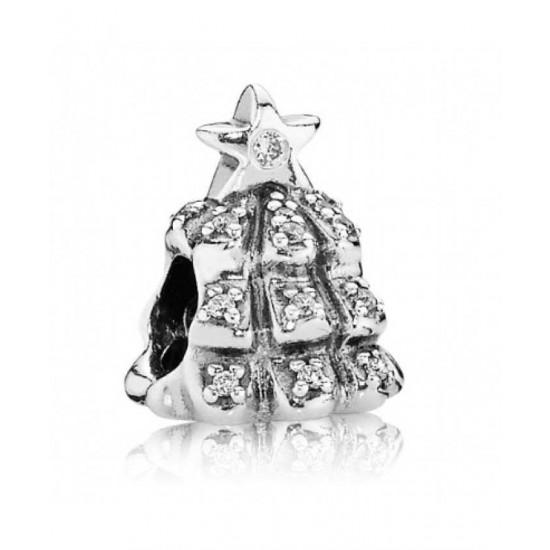 Pandora Charm-Silver Cubic Zirconia Christmas Tree Bead Jewelry