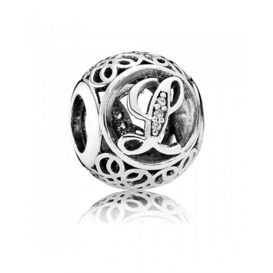 Pandora Charm-Silver Cubic Zirconia Vintage L Swirl Jewelry