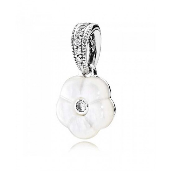 Pandora Charm-Silver Luminous Floral Pendant Jewelry