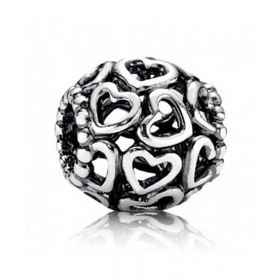Pandora Charm-Andora Silver Open Work Heart Bead Jewelry