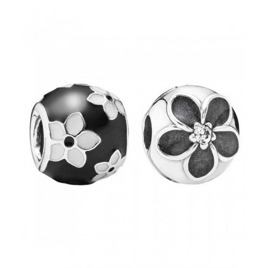 Pandora Charm-Monochrome Floral Jewelry