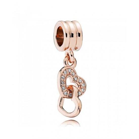 Pandora Charm-Rose Interlocked Hearts Jewelry