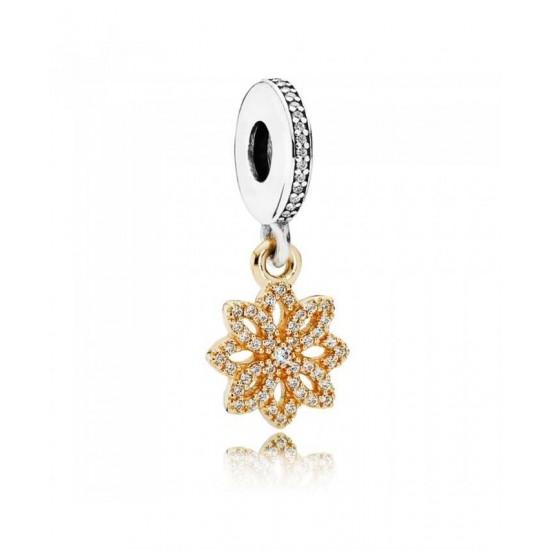Pandora Charm-Silver 14ct Gold Lace Botanique Jewelry