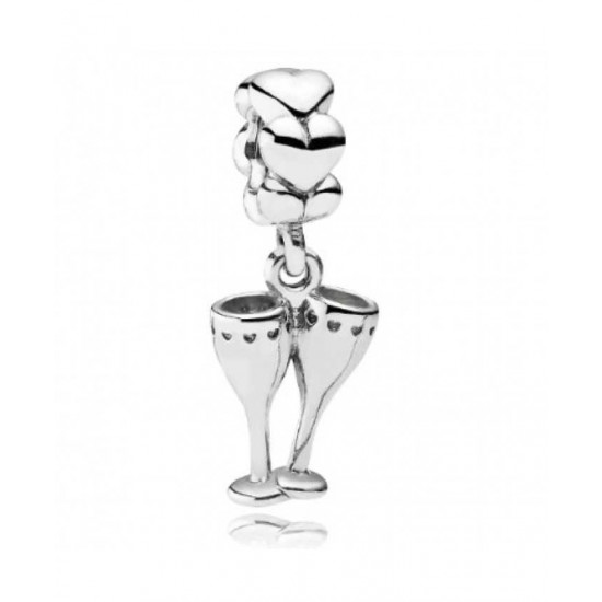 Pandora Charm-Silver Champagne Glasses Jewelry