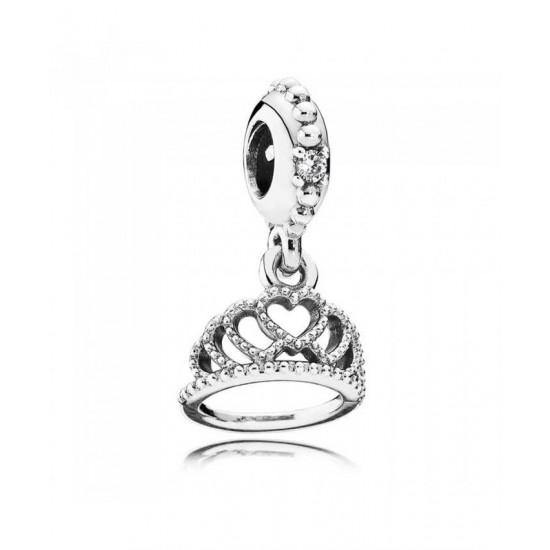 Pandora Charm-Silver Cubic Zirconia Heart Tiara Jewelry