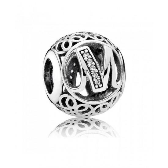Pandora Charm-Silver Cubic Zirconia Vintage M Swirl Jewelry