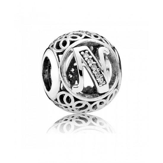 Pandora Charm-Silver Cubic Zirconia Vintage N Swirl Jewelry