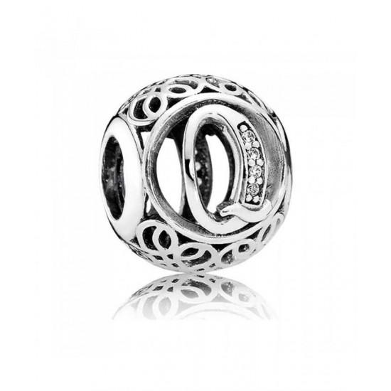 Pandora Charm-Silver Cubic Zirconia Vintage Q Swirl Jewelry