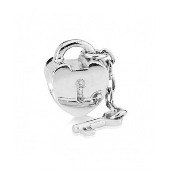 Pandora Charm-Silver Heart Lock And Key Bead Jewelry