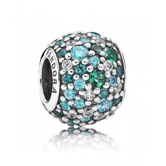 Pandora Charm-Silver Ocean Mosaic Green Cubic Zirconia Jewelry