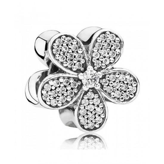 Pandora Charm-Silver Pave Cubic Zirconia Daisy Jewelry