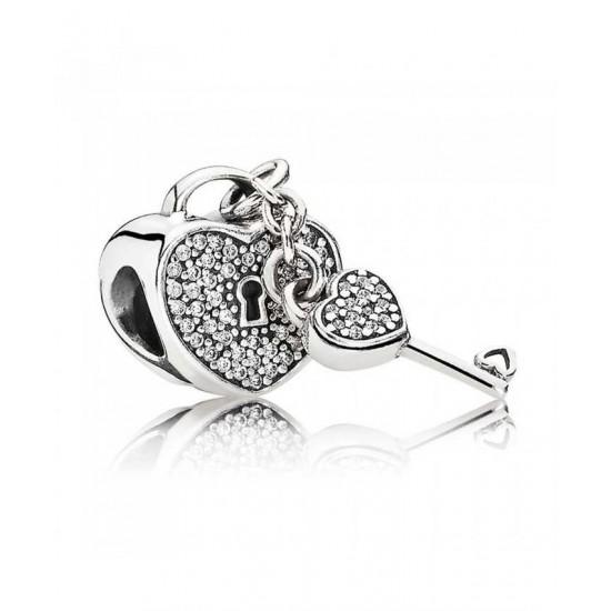 Pandora Charm-Silver Pave Cubic Zirconia Padlock And Key Jewelry