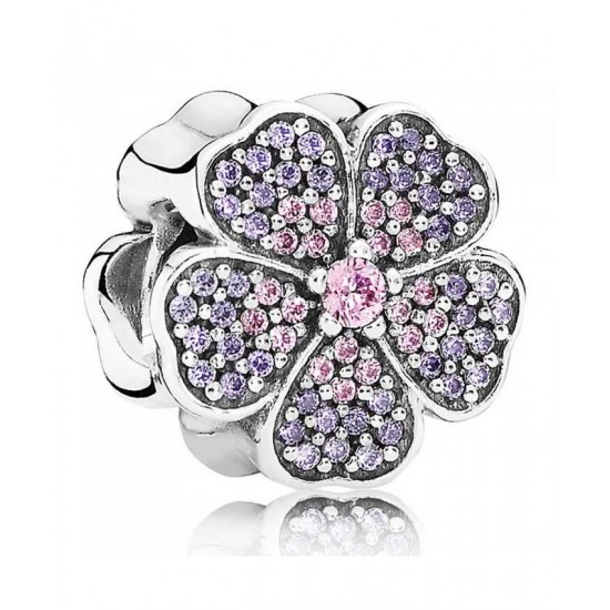 Pandora Charm-Silver Pink And Purple Cubic Zirconia Primrose Jewelry