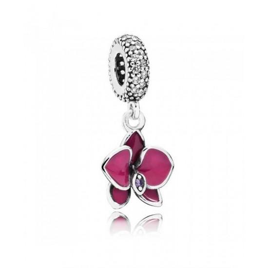 Pandora Charm-Silver Purple Enamel Orchid Dropper Jewelry