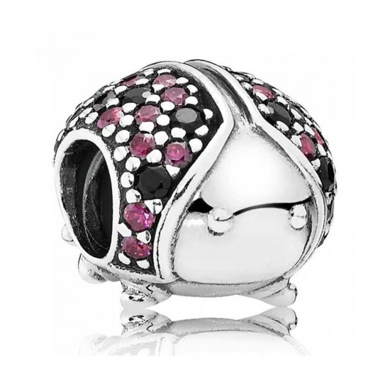 Pandora Charm-Silver Red And Black Cubic Zirconia Ladybird Jewelry