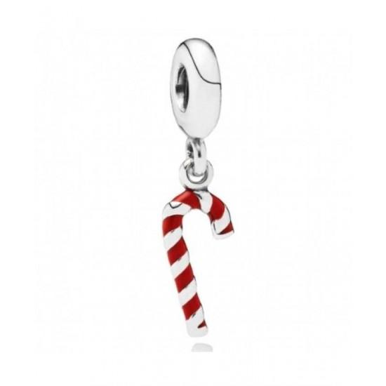 Pandora Charm-Silver Red Enamel Candy Cane Jewelry