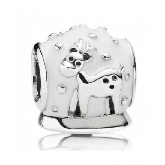 Pandora Charm-Silver White Enamel Snowglobe Bead Jewelry