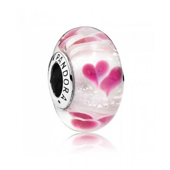 Pandora Charm-Silver Wild Hearts Murano Glass Jewelry