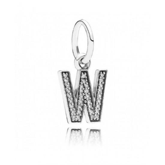 Pandora Charm-Sparkling Alphabet W Pendant Jewelry