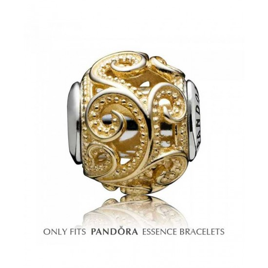 Pandora Charm-Essence Silver 14ct Gold Swirl Creativity Jewelry
