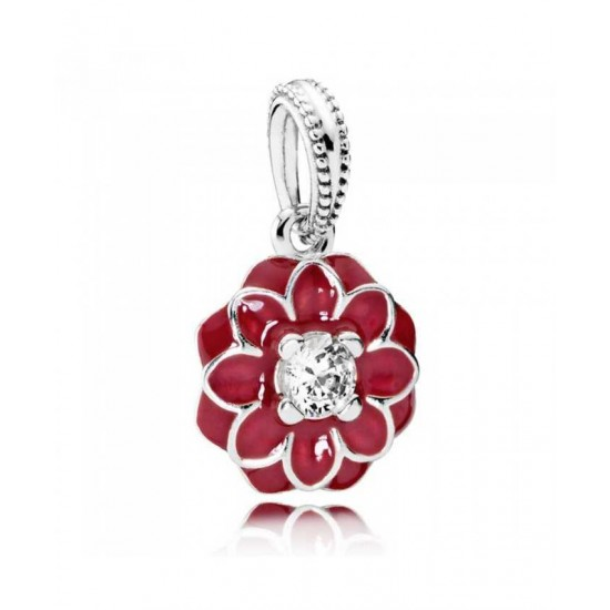 Pandora Charm-Oriental Bloom Red Enamel Flower Sterling Silver Drop Jewelry