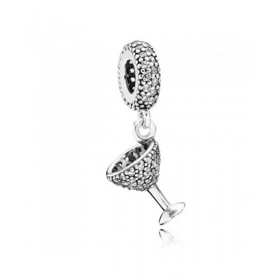 Pandora Charm-Silver Cubic Zirconia Cocktail Glass Dropper Jewelry