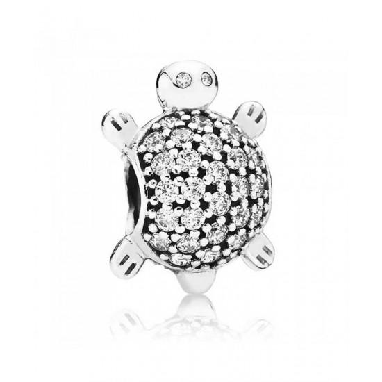 Pandora Charm-Silver Cubic Zirconia Sea Turtle Jewelry