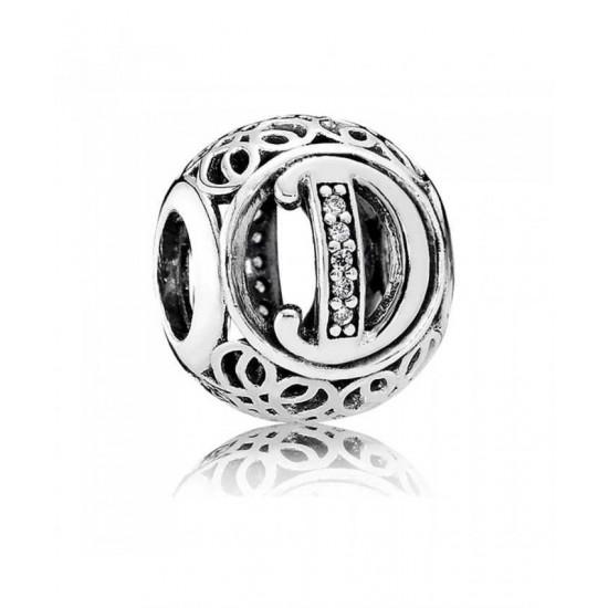 Pandora Charm-Silver Cubic Zirconia Vintage D Swirl Jewelry