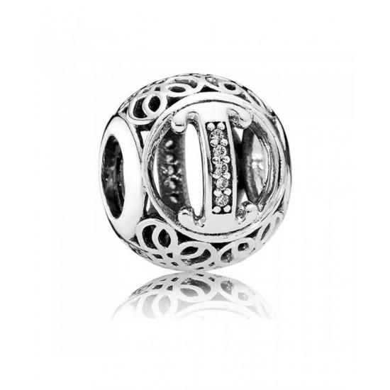 Pandora Charm-Silver Cubic Zirconia Vintage I Swirl Jewelry