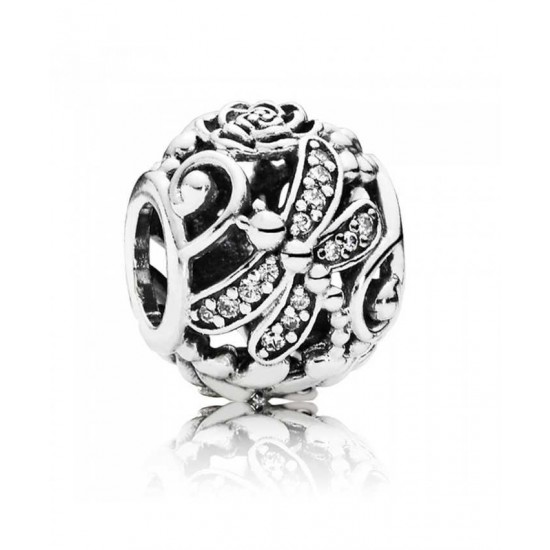 Pandora Charm-Silver Dragonfly Meadow Openwork Jewelry
