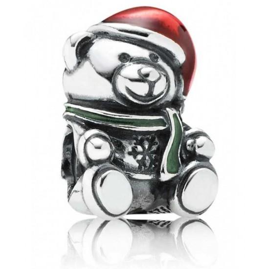 Pandora Charm-Silver Enamel Teddy Bear Jewelry