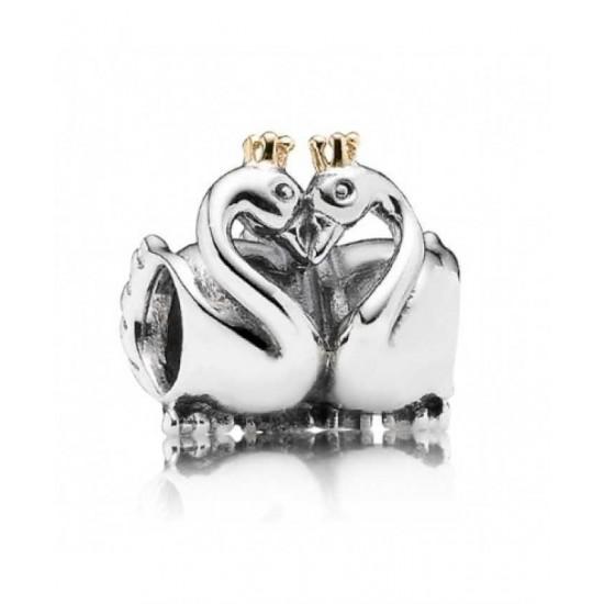 Pandora Charm-Silver 14ct Gold Swan Embrace Jewelry