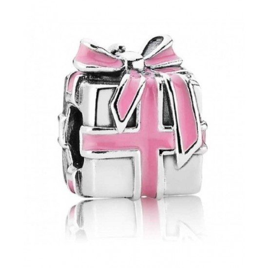 Pandora Charm-Silver All Wrapped Up Pink Enamel Present Bead Jewelry