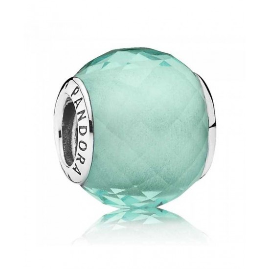 Pandora Charm-Silver Faceted Synthetic Green Quartz Jewelry