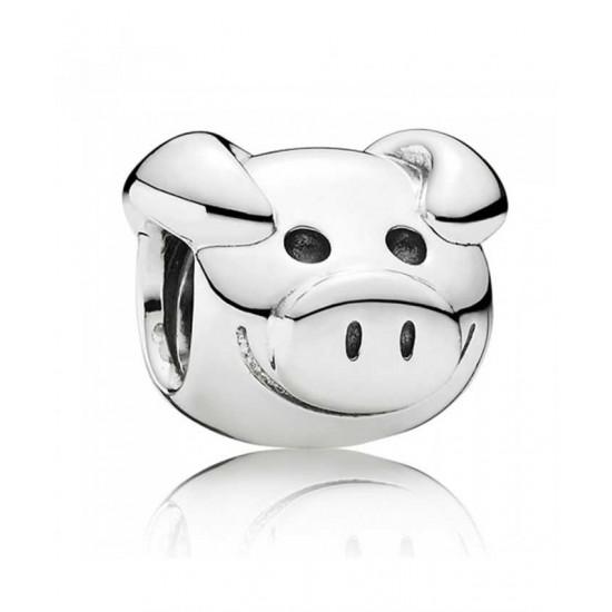 Pandora Charm-Silver Playful Pig Jewelry