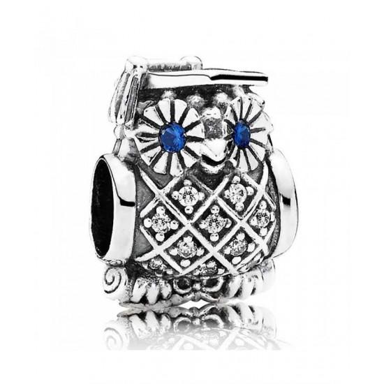 Pandora Charm-Silver Blue Cubic Zirconia Owl Jewelry
