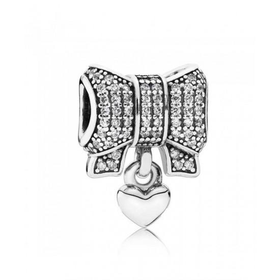 Pandora Charm-Silver Cubic Zirconia Heart Bow Jewelry