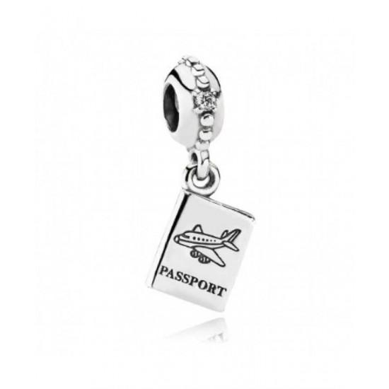 Pandora Charm-Silver Cubic Zirconia Passport Dropper Jewelry