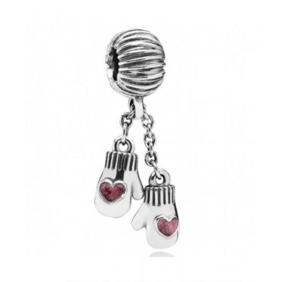 Pandora Charm-Silver Pink Enamel Mittens Drop Jewelry