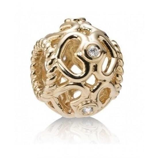 Pandora Bead-14ct And Diamond Cut Out Hearts Jewelry